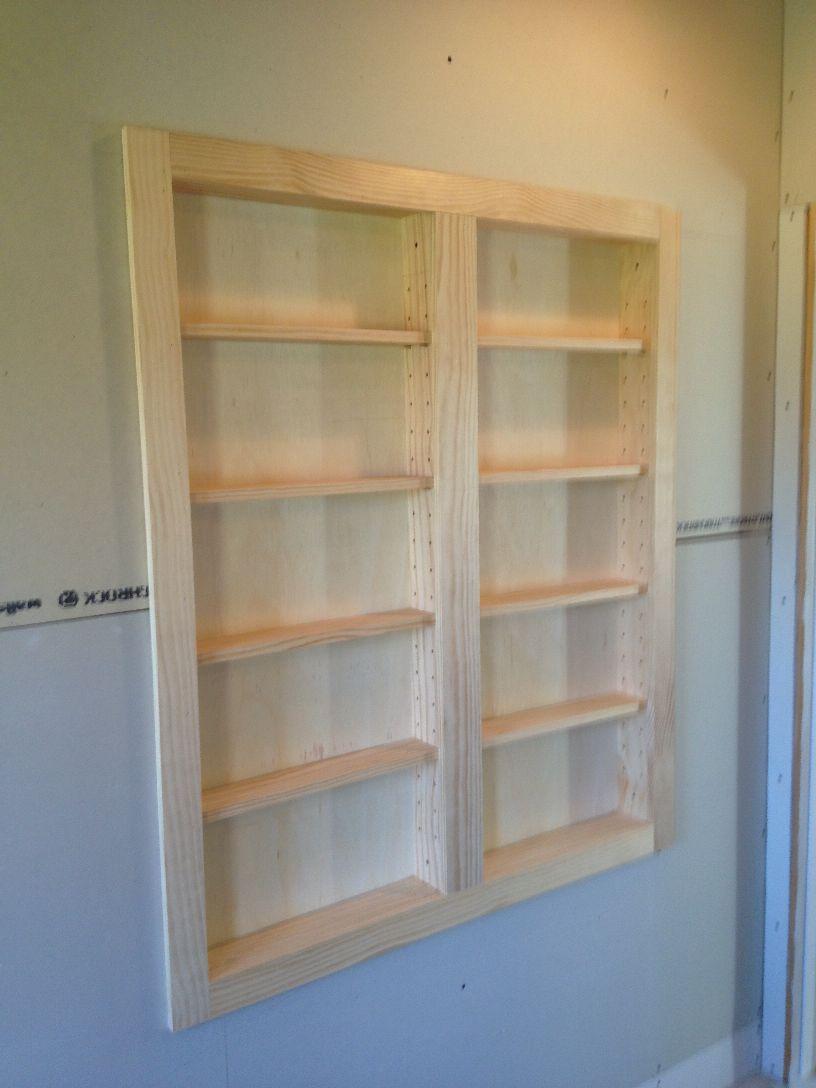 between stud inset shelves