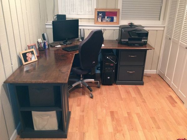 Custom Corner Desk with drawers, pullout keyboard and shelves